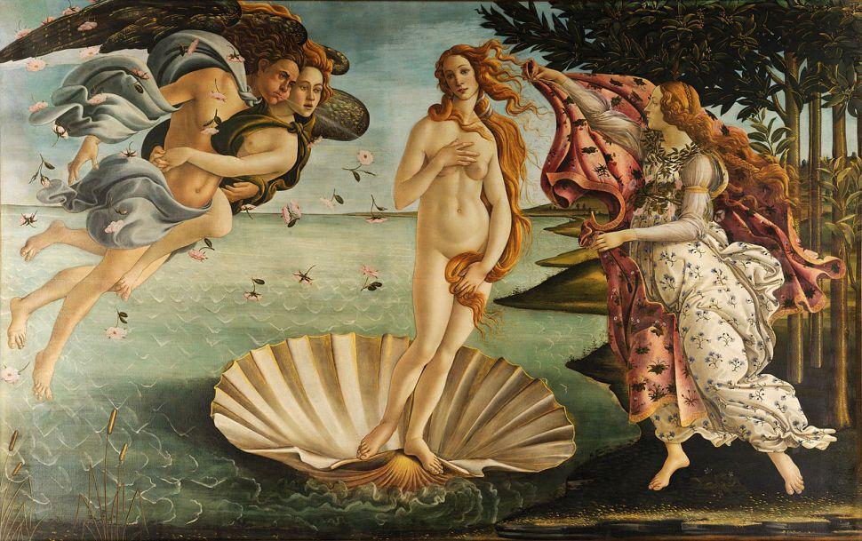 """""""The Birth of Venus,"""" or Nascita di Venere by Sandro Botticelli. Commissioned by the Medici family."""