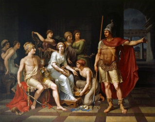 Hector Admonishes Paris for His Softness and Exhorts Him to Go to War by J.H.W. Tischbein (1751–1828)
